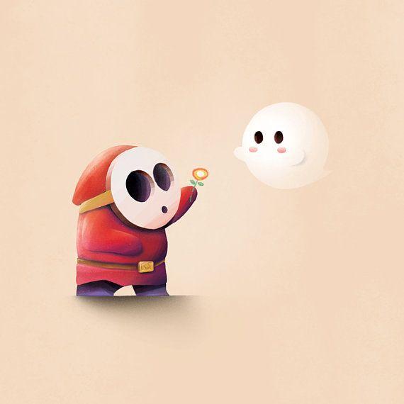 Mario Print / Shy Guy & Boo by Daniel Duplex