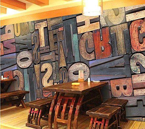 Vintage Lettera Numero 3d gigante carta da parati pittura bar KTV Cafe corridoio ristorante decorazione personalità wallpaper: Amazon.it: Casa e cucina