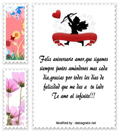 saludos de aniversario,sms bonitos de aniversario: http://www.datosgratis.net/increibles-frases-de-aniversario-para-mi-novio/
