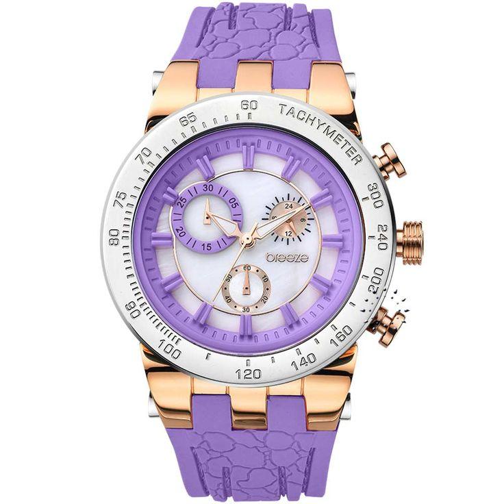 BREEZE Desire Chrono Purple Rubber Strap Τιμή Προσφοράς: 162€ http://www.oroloi.gr/product_info.php?products_id=30564
