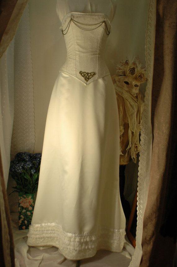 Helena ivory duchess satin wedding gown with от BoundByObsession