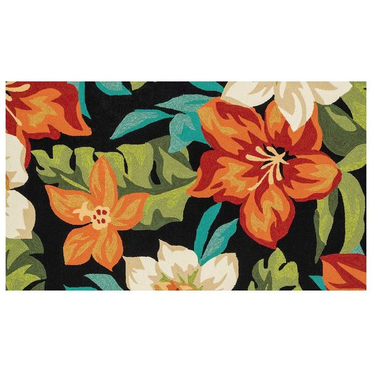 E104 Tropical Floral Indoor/Outdoor Rug- 3x5 ft