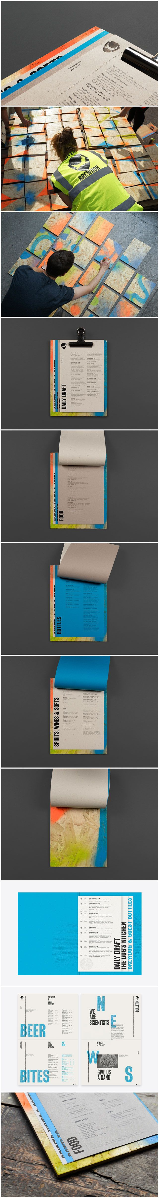 Menus that feature mixed fibre, dyed and uncoated papers, blind embossing and block foil for Brewdog designed by O Street