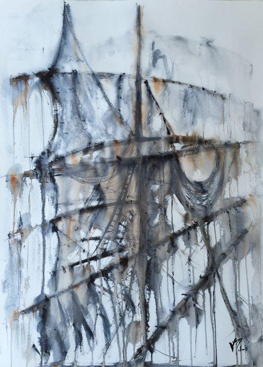 ARTFINDER: Tall Ship by Victor de Melo - Bockingford® Watercolour Paper 425gsm . Watercolour Winsor & Newton