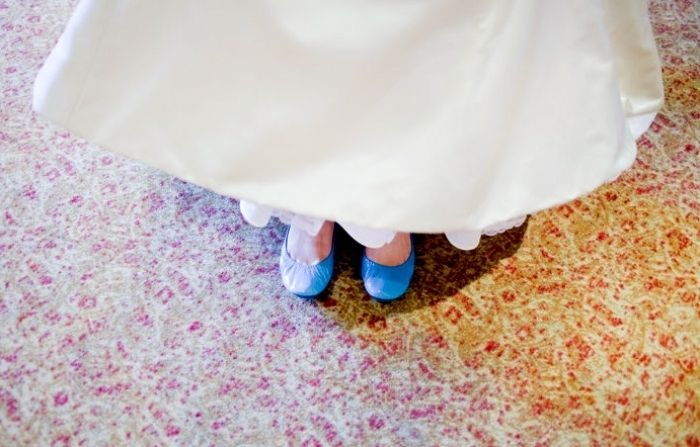 "SHOES: ""Something old, something new, something borrowed, something Tiek Blue! Tieks on my wedding day!"" -Kate Bushman"