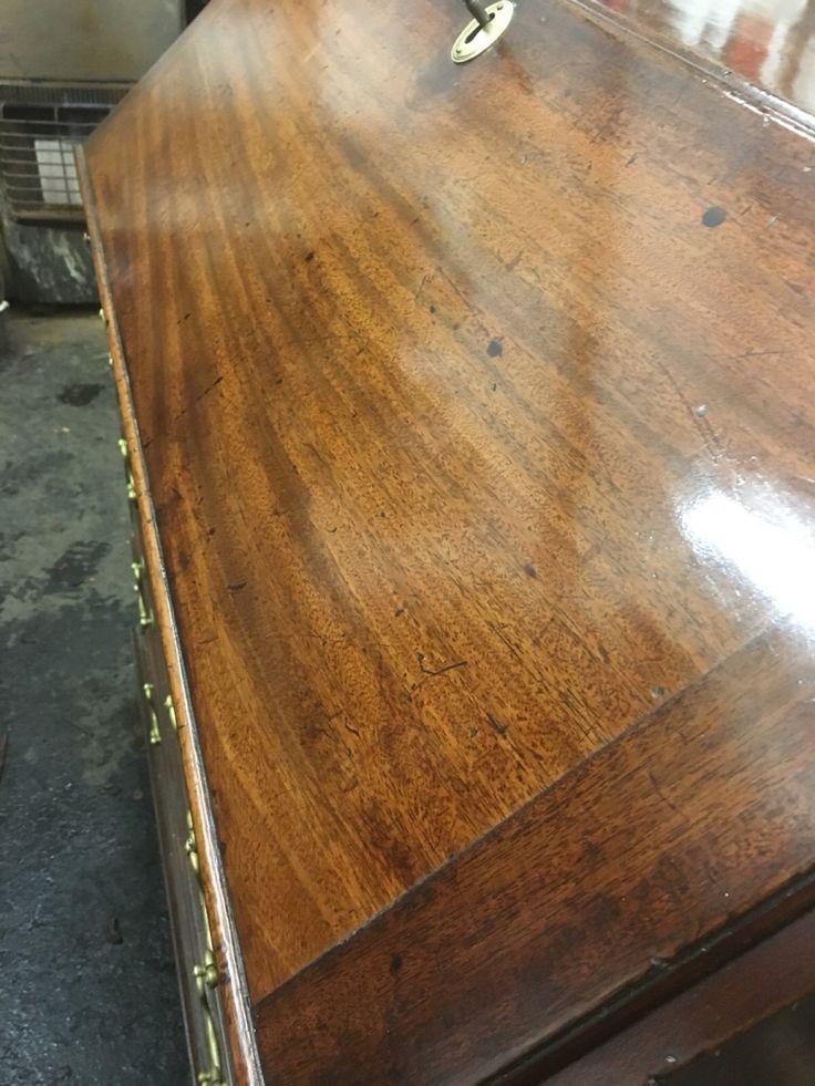 Antique mahogany George lll bureau restoration – Daniel Chapman antique furniture restoration