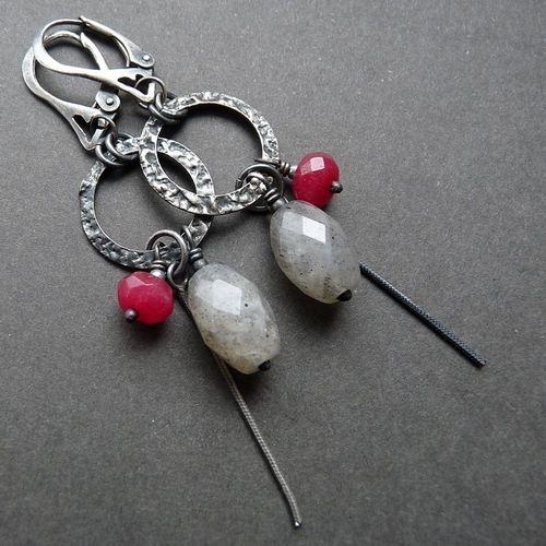 Kolczyki ze srebra z fasetowanym labradorytem i jadeitem. #jewelery  cudosfera.pl