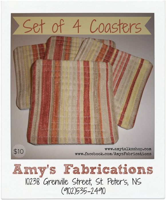 Amy's Fabrications: Striped Fabric Coasters | 3 Coordinating Sets of 4