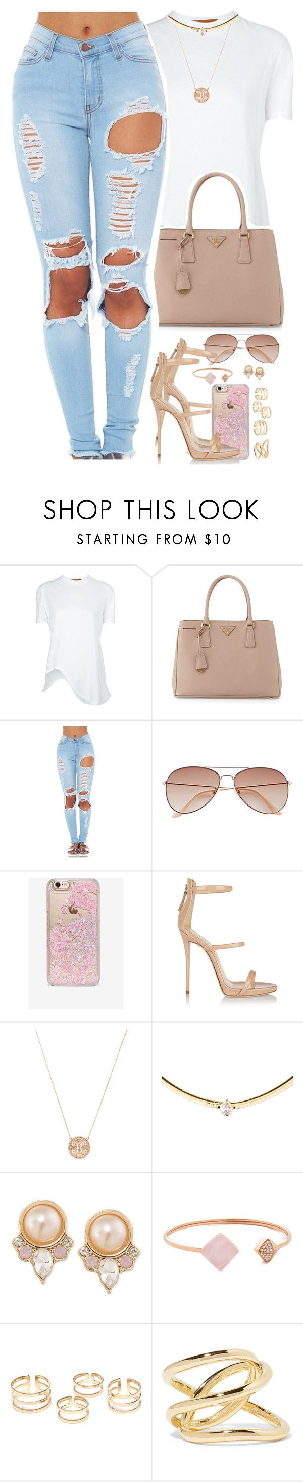 """jimmy choo"" by daisym0nste ❤ liked on Polyvore featuring Coperni Femme, Prada, H&M, Skinnydip, Giuseppe Zanotti, Suneera, Carolee, Michael Kors and Jennifer Fisher"