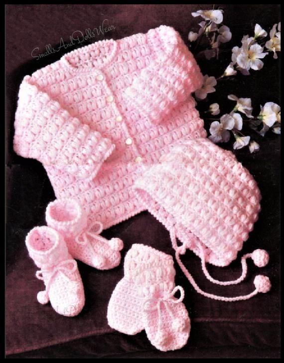 Vintage Baby Bonnet Cap Booties Crochet Set Pattern