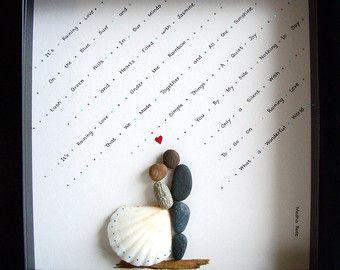 Mariage cadeau galet fiançailles Unique Art par MedhaRode sur Etsy