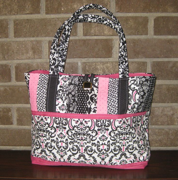 ***THINK SPRING Quilted Handbag/Tote - Black, White and Pink. $50.00, via Etsy.