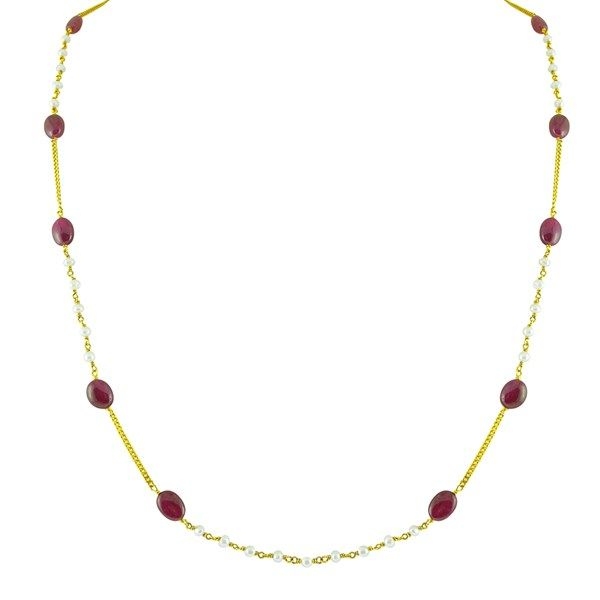 Jpearls Single-strand Long Gold Chain with Pearls and Rubies   Designer Gold Chain   Necklace