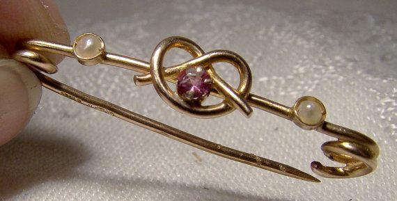 9K Rose Gold Almandine Garnet Sailor's Knot Collar Bar Pin