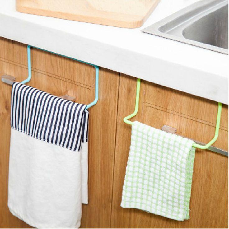 Kitchen Cupboard Door Back Style Single Bar Towel Rack Plastic Towel Rack Rag Hanging Multipurpose Utility C