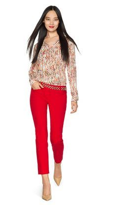For Keeps- Create this look with our Printed Tie Neck Blouse and Sateen Pencil Pants from THELIMITED.com #TheLimited