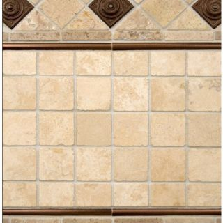 Tumbled Travertine W Copper Accents Backsplash Liking The Square Tiles Combine With Glass