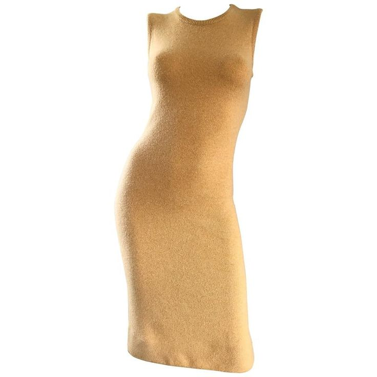 Vintage Halston Cashmere Camel Tan 1970s Sleeveless 70s Sweater Dress  | From a collection of rare vintage cocktail-dresses at https://www.1stdibs.com/fashion/clothing/evening-dresses/cocktail-dresses/