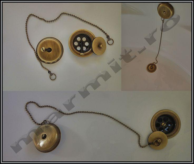 Capac ventil culoare bronz pentru sifon cada cu preaplin