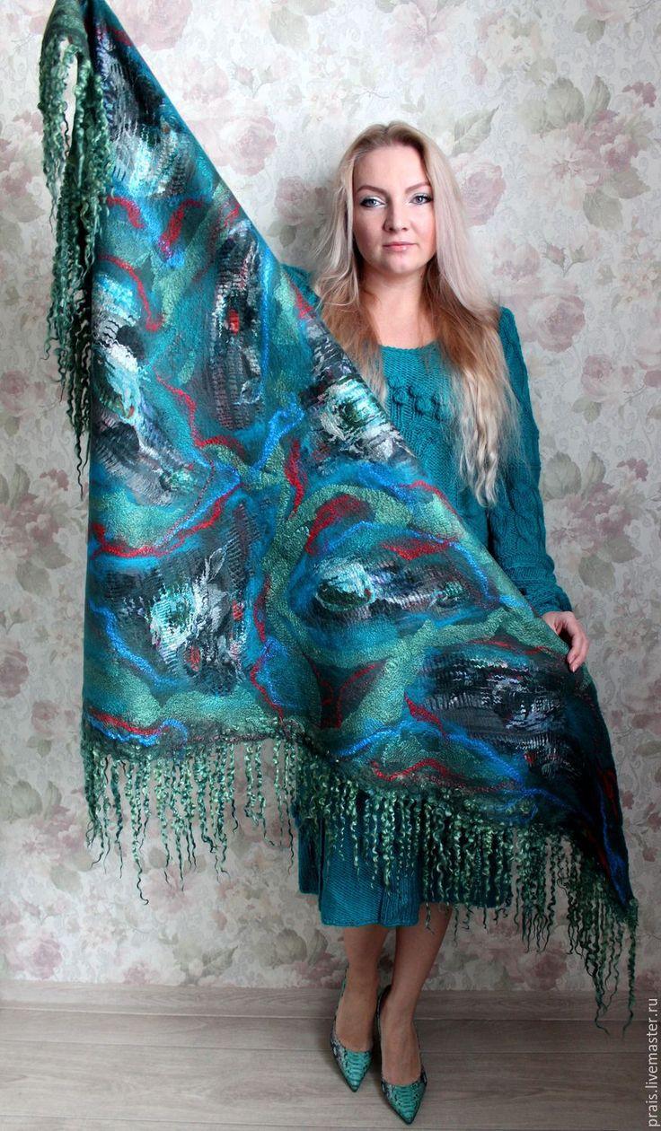 """Купить Авторская валяная шаль """"Magic Pine"""" - тёмно-зелёный, цветочный, шаль ручная работа"""