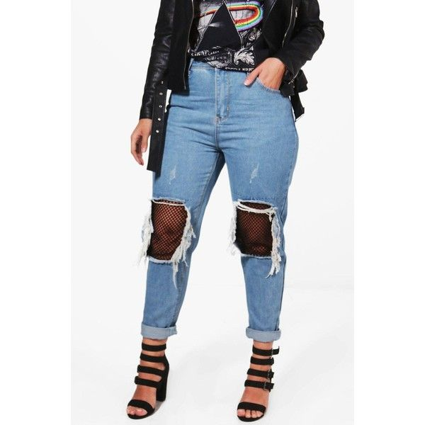 Boohoo Plus Carey Ripped Fishnet Boyfriend Jean (€30) ❤ liked on Polyvore featuring jeans, distressed jeans, boohoo jeans, ripped blue jeans, destroyed boyfriend jeans and destructed jeans