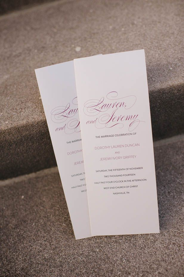 Simple elegant wedding programs (Justin Wright Photography)