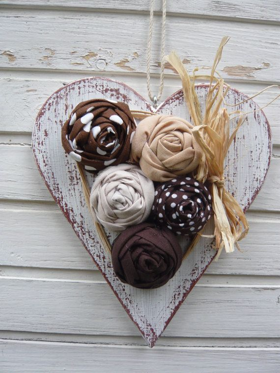 Wooden heart with textile roses, ornament, door decoration
