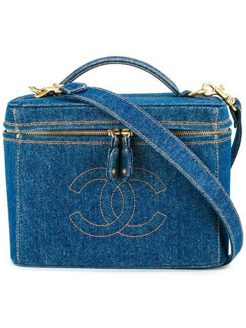 Shop Chanel Vintage CC logo 2way cosmetic vanity bag.