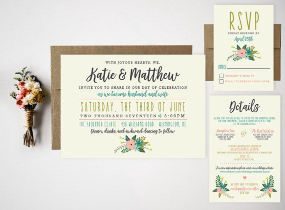 Wedding Invitation Bundle // Cute Floral by RememberNovemberInc