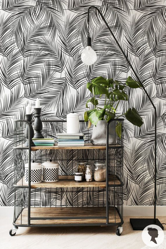feuilles de palmier amovible wallpaper fond d cran traditionnel ou auto adh sif z036 papier. Black Bedroom Furniture Sets. Home Design Ideas