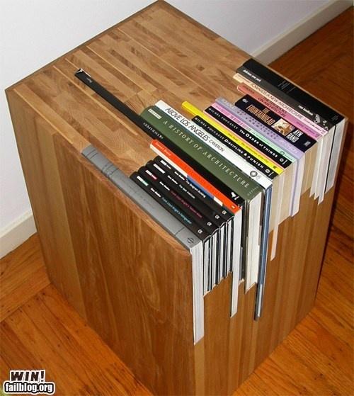 cool idea - until you spill something.: Bookshelves, Bookshelf Design, Book Tables, Book Storage, Book Shelves, Memorial Tables, End Tables, Bedside Tables, Design Blog