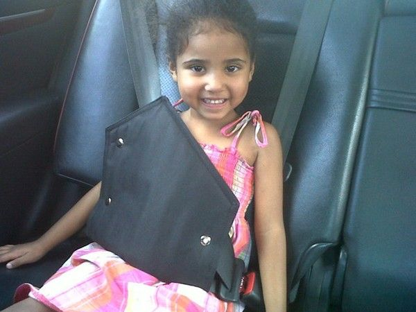 Picture perfect Laiken Anne strapped up tightly and securely in her Secure-A-Kid Safety Harness for Car seat Belts