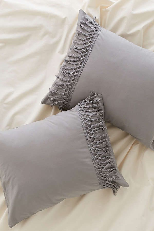Slide View 1 Magical Thinking Net Tassel Sham Set Gray Duvet Cover Boho Bedding Grey Duvet