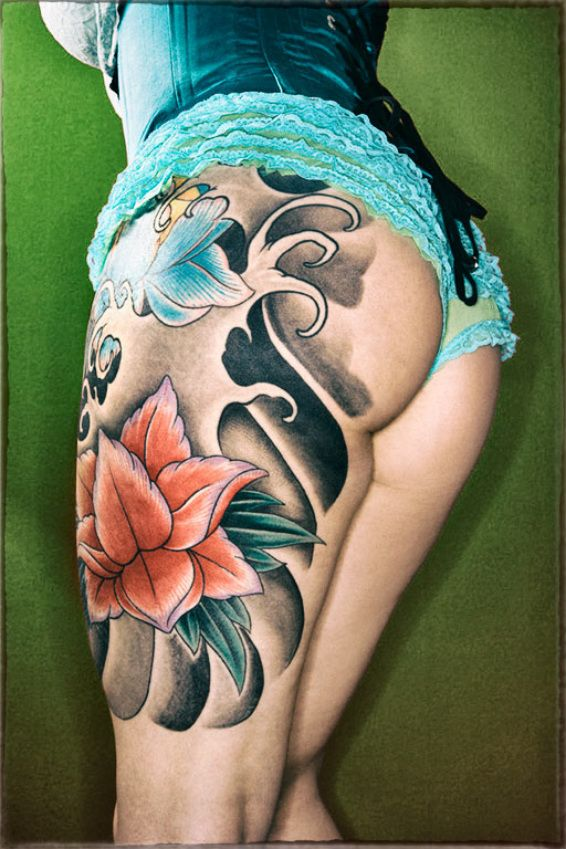 Water Lilly Full Leg Okinawa.Tattoo | Okinawa Tattoo ...