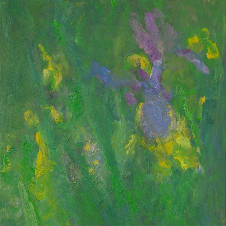Rautio: Iris in the evening - irikset illalla, 73x70 cm, Oil on canvas, 2017.