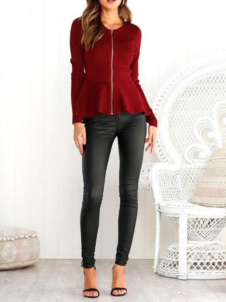 Front Zipper Tops for Women Long Sleeve o-Neck Autumn Top Casual Shirts Ruffle Blouse