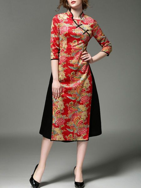 Paneled Faux Suede Mandarin Dress