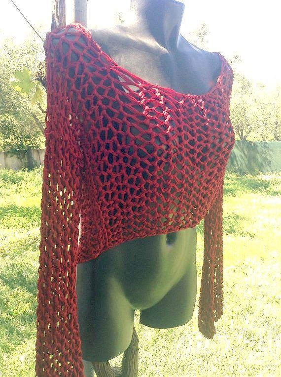 Handmade Burgundy Net Sweater Top, medium, egst, made in Greece by GirlyStuffByDeJaVu on Etsy