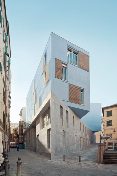 Hamburg office PFP Architekten has designed a school building with overlapping boxes that jut out towards a piazza in the historic centre of Genoa, Italy.