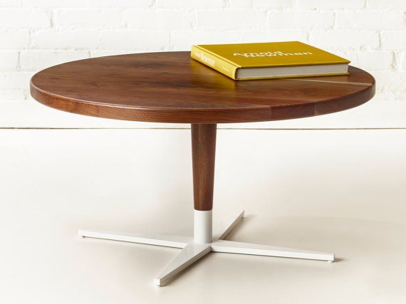 Modern Solid Walnut + White Base Coffee Table by Wake the Tree Furniture Co. | Bcurated