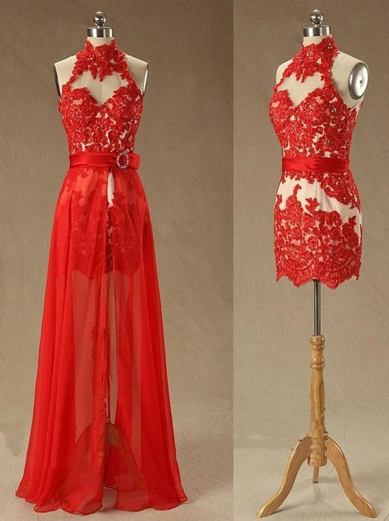 Sheath/Column High Neck Lace Backless Red Long Prom/Homecoming Dress with Beading Appliques