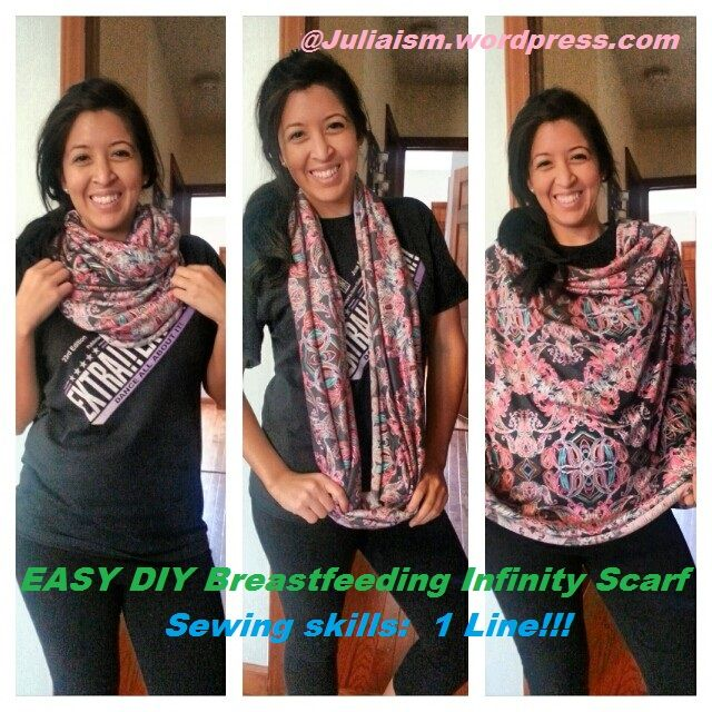 Breastfeeding coverup and infinity scarf in one!!! sew one line and done. Easy sew for beginners. beginner sewing. babies, diy pregnancy updates.http://juliaism.wordpress.com/2014/03/21/diy-breastfeeding-coverup-infinity-scarf-and-short-scarf-all-in-one-for-2-50/