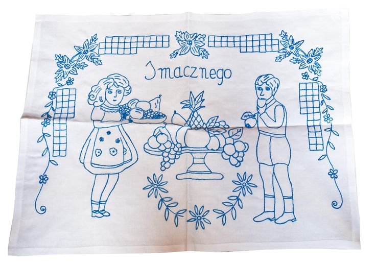 Hand embroidery on polish traditional tapestry used in kitchen.