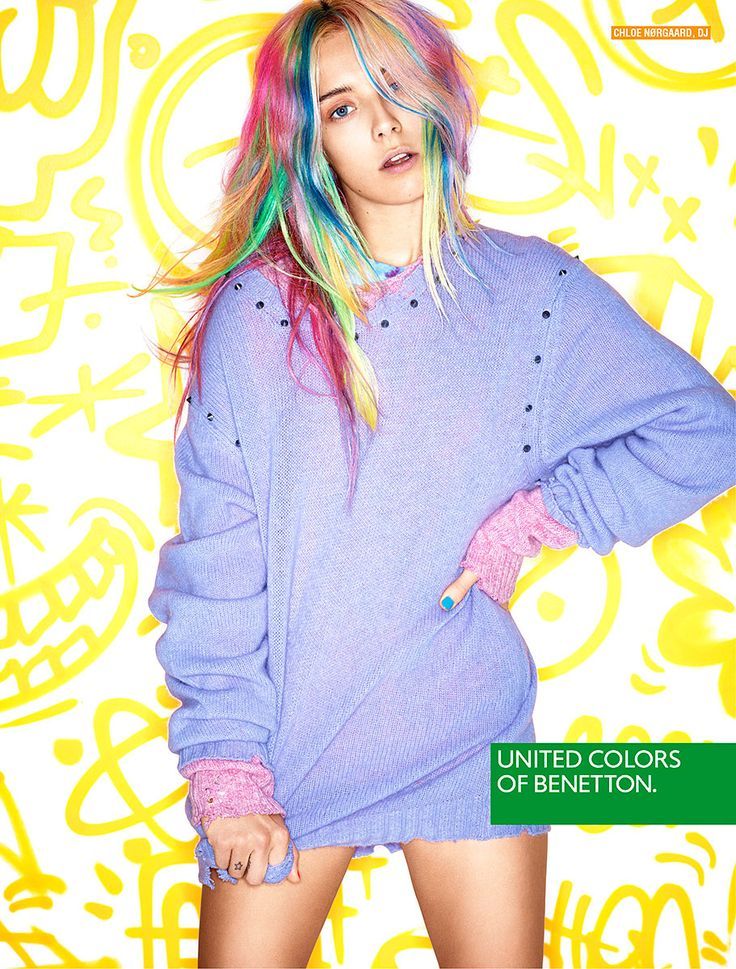 Campañas publicitarias moda otoño invierno 2013 2014 - united colors of benetton - Chloe Norgaard: Chloenorgaard, Rainbows Hair, July 2013, Chloe Norgaard, Fashion Photography, Pastel Hair, Fall Winter, Hair Color, United Color