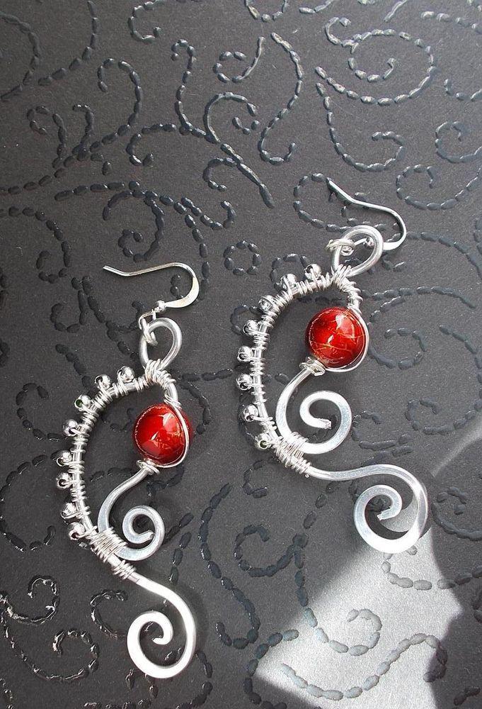 Schöne Meerjungfrau Muschel Ohrringe/DrahtSchmuck Glasperlen Unikat Fee Larp Rot