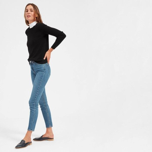 Everlane Women's Cashmere Crew Sweater ($100) ❤ liked on Polyvore featuring tops, sweaters, black, cashmere crewneck sweater, pure cashmere sweaters, crew-neck tops, crew neck sweater and crewneck sweaters