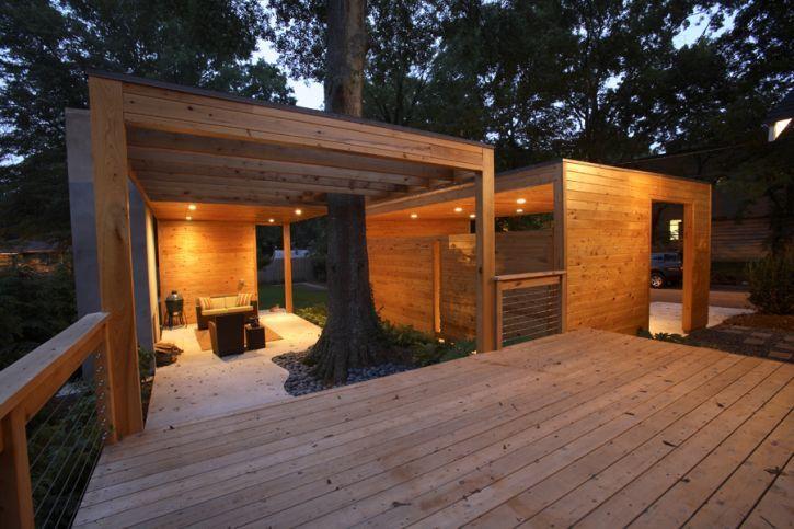 Contemporary outdoor living space carport pinterest for Contemporary outdoor living spaces