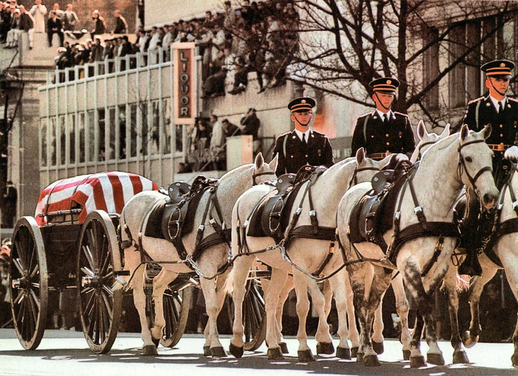 November 25, 1963, President Kennedy's Funeral - the mourners walked the eight blocks from the White House to St. Matthews Cathedral.