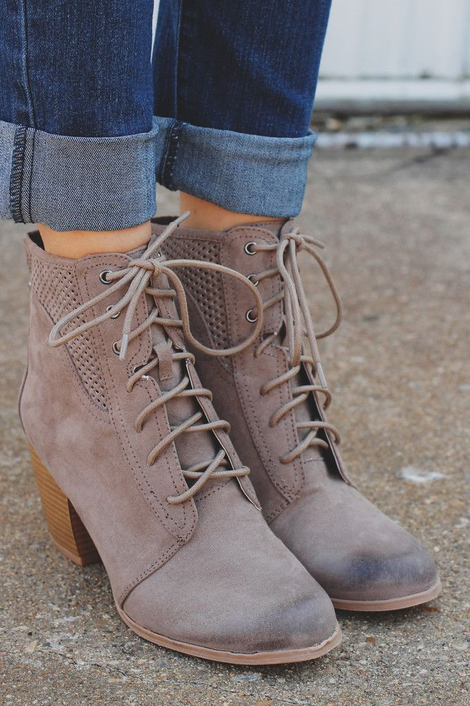 Lace Up Perforated Accent Almond Toe Booties