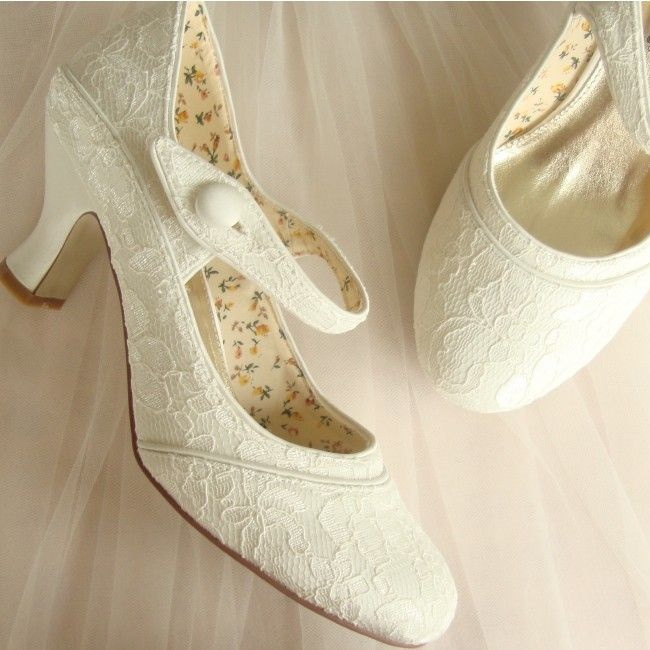 Mary Jane Ivory Lace Wedding Shoes